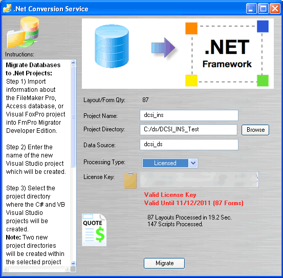 .Net Migration Screenshot