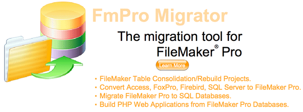 FmPro Migrator - The migration tool for FileMaker Pro. FileMaker Table Consolidation Projects, Access SQL Server to FileMaker, FileMaker to SQL Databases.